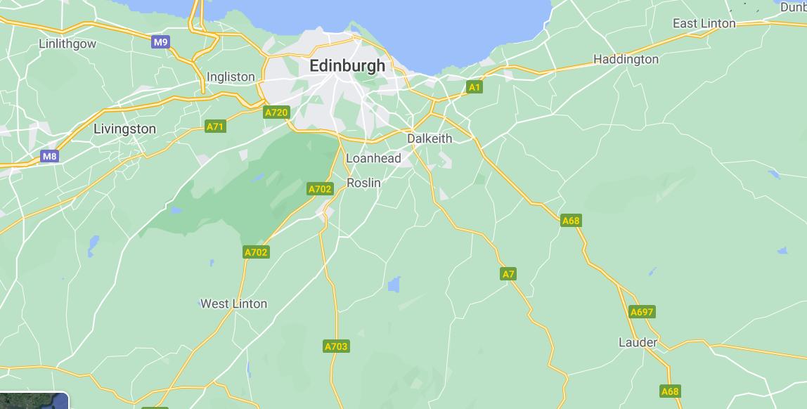 Map of Edinburgh, the Lothians and Borders