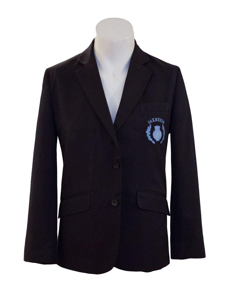"A suit jacket with a ""Oakmeeds"" logo on the left half"