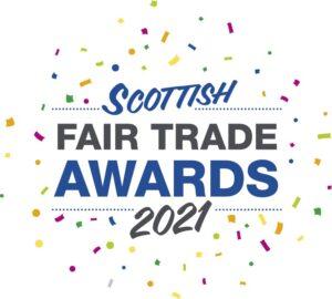 Scottish Fair Trade Awards 2021 logo with confetti